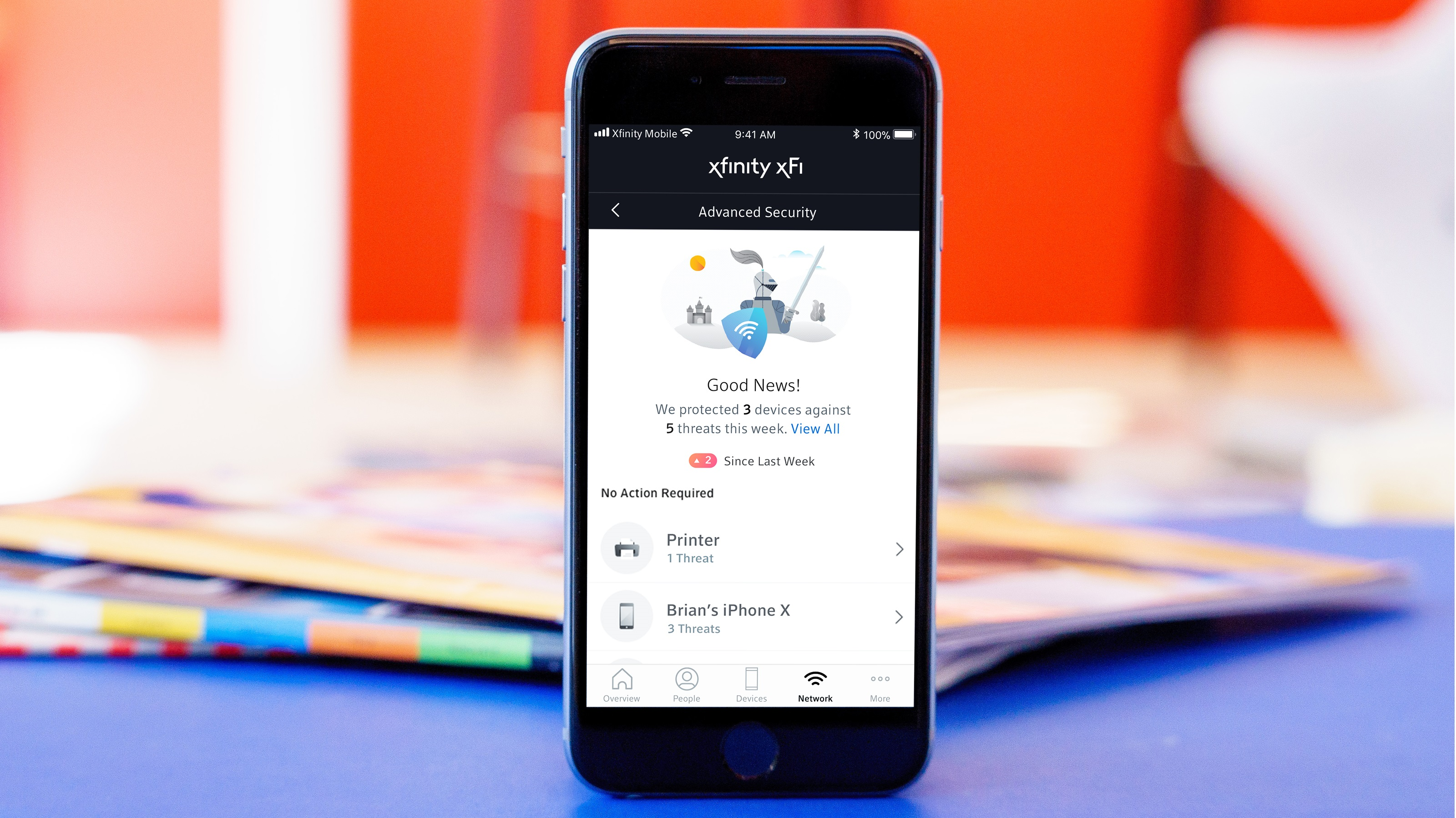 The Xfinity xFi Advanced Security app displayed on a mobile phone.