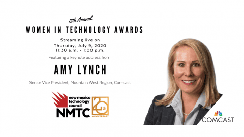 Poster for Amy Lynch speaking at the Women in Technology Awards celebration