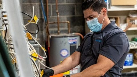 An employee working and wearing a mask.