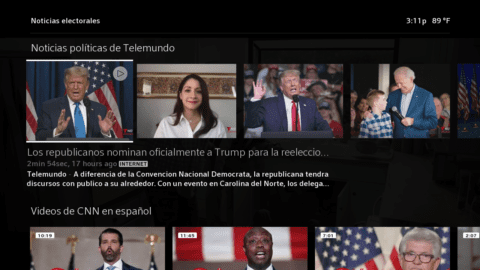 The Election Central hub on Xfinity X1 hub.